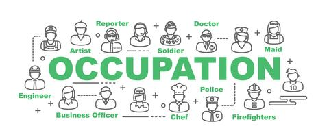 occupation banner with line icons vector
