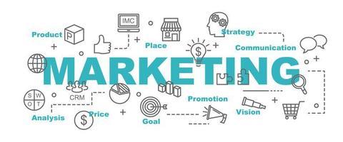 banner de vector de marketing con iconos de negocios