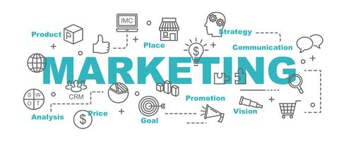 banner de vector de marketing con iconos de negocios