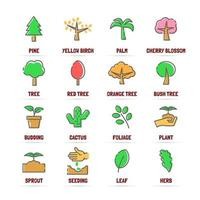 tree vector line icons with flat colors