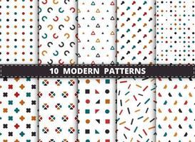Colorful style modern geometric pattern background set