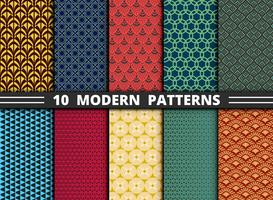 Conjunto de patrones modernos abstractos coloridos