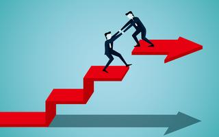 Businessman is helping to pull one more person up on the red ladder arrow vector