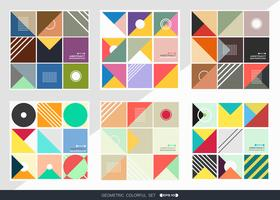 Geometric pattern background set in square shape. vector