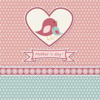 Cartão de dia das mães feliz com pássaros bonitos