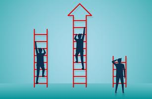 businessmen competition are climbing ladder to go to goal vector