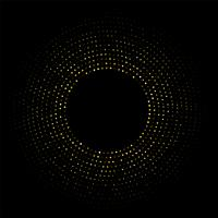 Abstract Golden circular frame with sparkling light on a modern black background