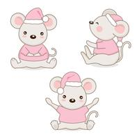Set of little cartoon mice