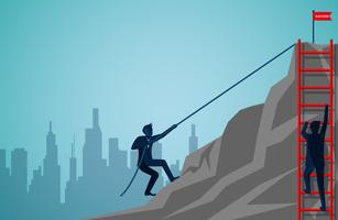 Two businessmen are competing by climbing up the mountain with ropes and stairs vector