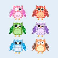 Colorful owls set