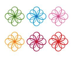 logotipo de padrões florais e símbolos em um fundo branco vetor