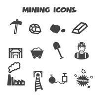símbolo de los iconos de minería vector