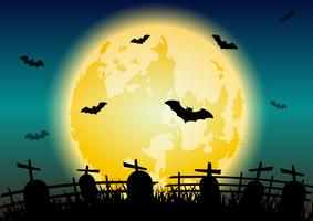 Glowing halloween moon background with cemetery vector
