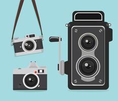 set retro camera vector