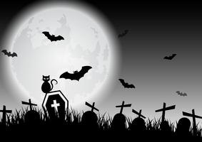 Spooky black and white Halloween moon over graveyard