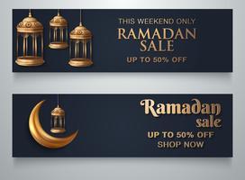 Modèle de bannière Ramadan Lantern Moon vecteur