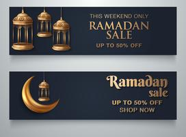 Ramadan Lantern Moon Banner Template vector