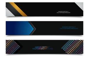 Diseño de banners web horizontales negros vector