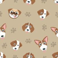 Variety of cute dog  Head Seamless Pattern