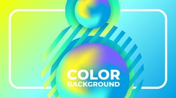 Abstracte moderne gradiënt levendige vloeibare bal blauwe gele achtergrond