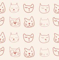 cat faces pattern vector