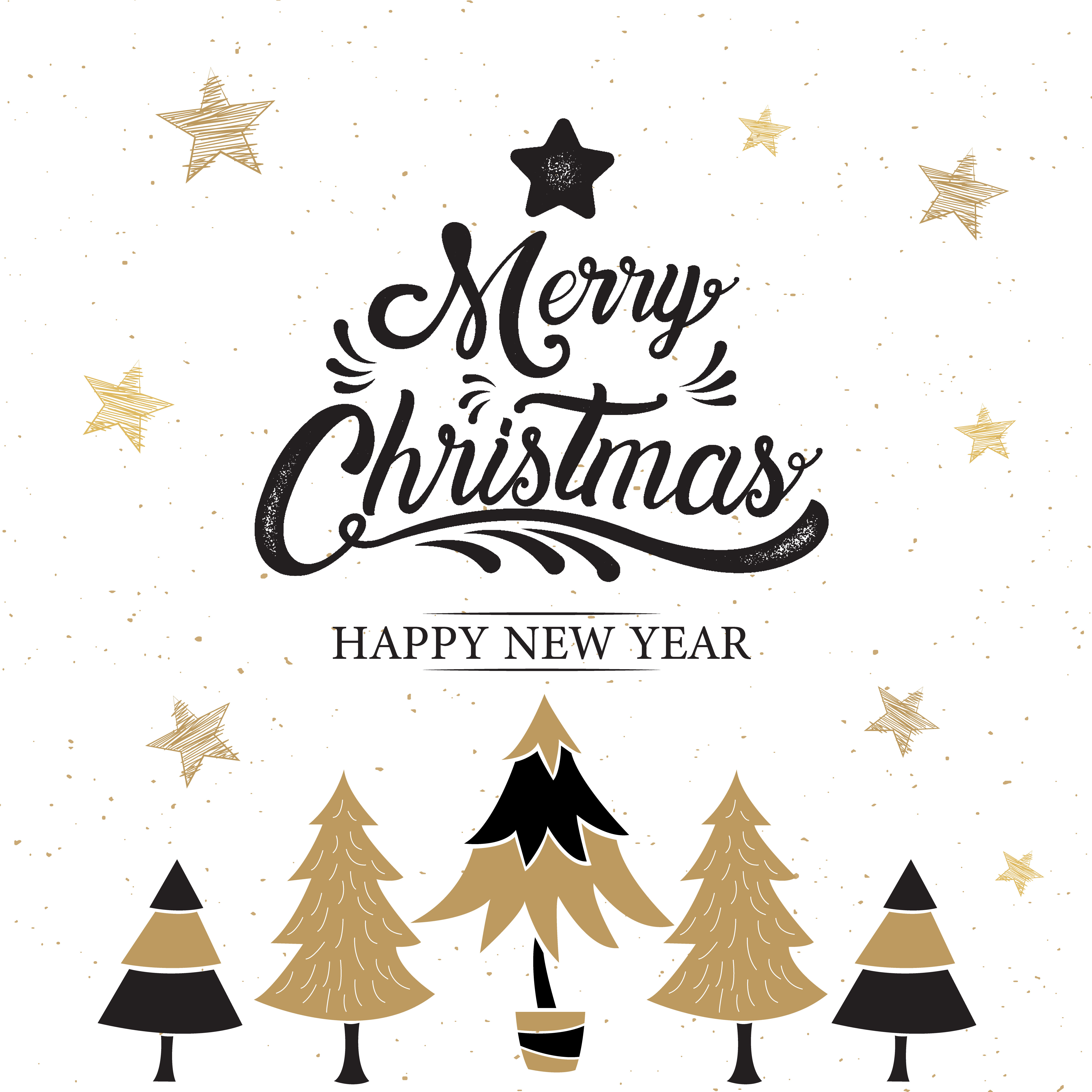 merry christmas happy new year logo with trees download free vectors clipart graphics vector art vecteezy