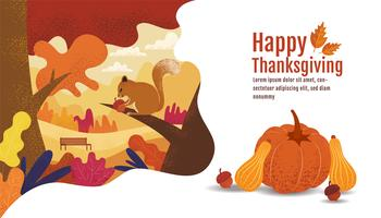 Happy Thanksgiving, Autumn Banner Design met eekhoorn