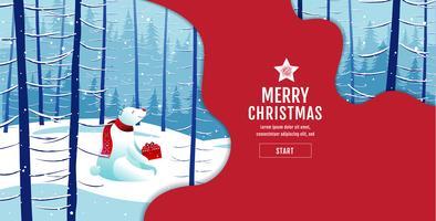 Merry Christmas Polar Bear winter landscape