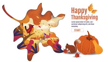 Happy Thanksgiving Autumn Banner Design in Leaf Shape vector