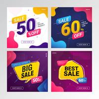 colorful sale banner set with fluid gradient