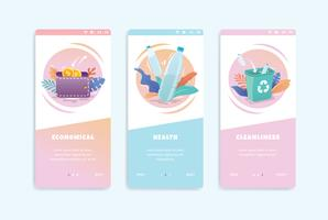 healthy onboarding screen user interface kit vector