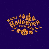 Happy Halloween Party calligraphy with pumpkins, bats and haunted house