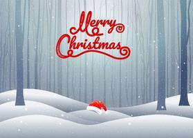 Tipografia de feliz Natal com paisagem de inverno e chapéu de Papai Noel