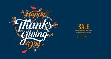 Affiche de typographie dessiné main joyeux Thanksgiving