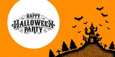 Happy Halloween Party poster with haunted house vector