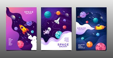 set of space galaxy design banners