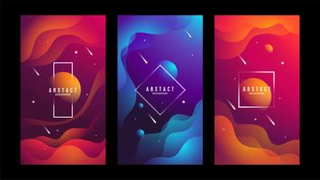 Set of Abstract fluid texture banners