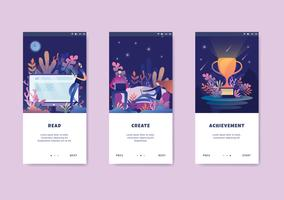 teamwork concept onboarding screen user interface kit