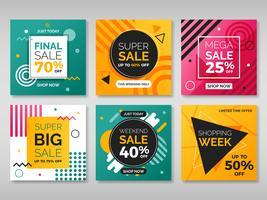 conjunto de venda de banner quadrado de mídia social