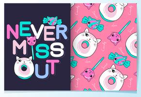 Hand drawn cute cat candy and donuts with typography set vector
