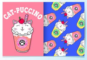 Hand drawn cute cat drinks with pattern set vector