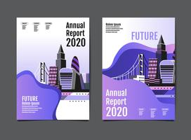 annual report 2020 cityscape design vector