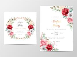 Foliage wedding invitation set with watercolor romantic flowers
