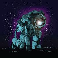 Astronauta en traje espacial en espacio colorido