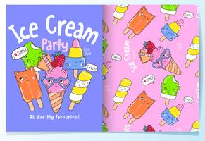 Hand drawn cute ice cream cats with pattern set
