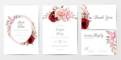 Elegant wedding invitation set with watercolor flowers