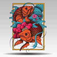 Japan Koi Fish Illustratievector in Tatoegeringsstijl
