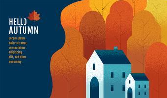 Hola otoño diseño de banner vector