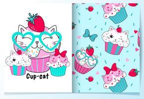 Tortas de taza de gato lindo dibujado a mano con conjunto de patrones vector