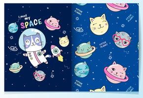 Hand drawn cute cat astronaut in space and cat planets with pattern set